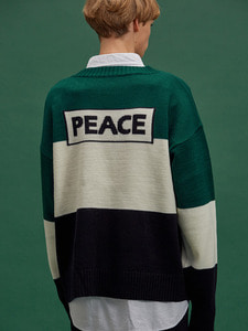 [SALE 30%] PEACE BLOCK KNIT GN